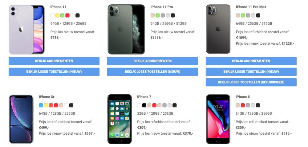 Vergelijk de verschillende modellen iphone